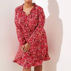 LOFT Plus Size Floral Tie Neck Shirt Dress